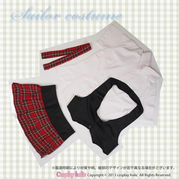 アイドル風制服コスプレ 黒ベストと赤チェックスカート
