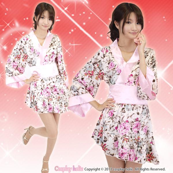 エレガンスな花柄のアシンメトリー和服衣装