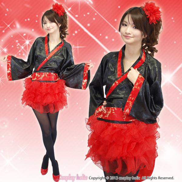 赤いチュチュが可愛いバレリーナ風和服衣装