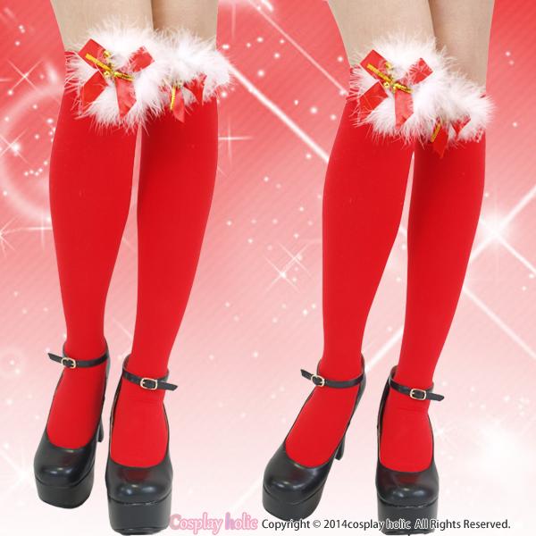 mini鈴付き☆ふわふわファーとリボン重ねの赤いニーハイ
