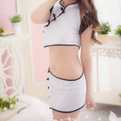 チャイナドレス 下着 白黒ベビードール 通販