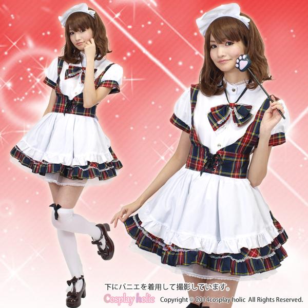 メイド服 通販 赤×青ブリティッシュチェックのフレアドレス