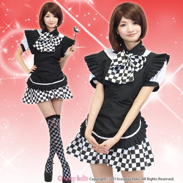 メイド服 通販 黒白市松模様スカート