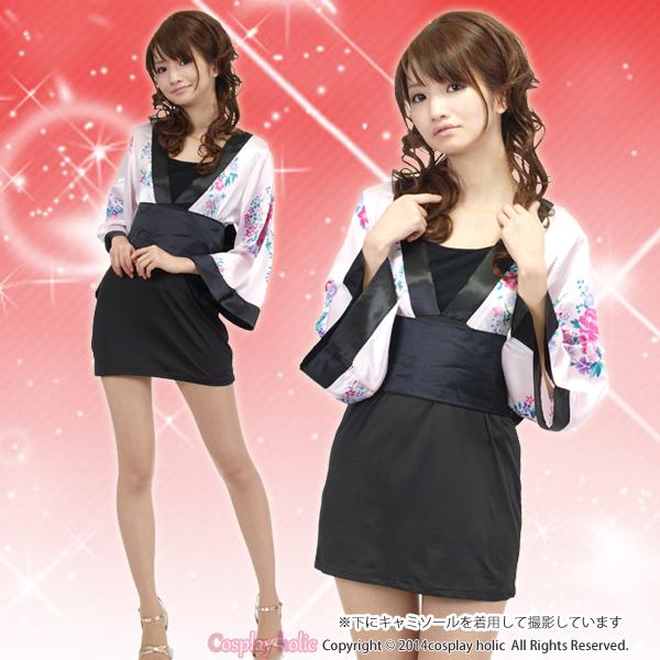 和服 コスプレ 衣装 激安 ピンク花柄の黒スカート