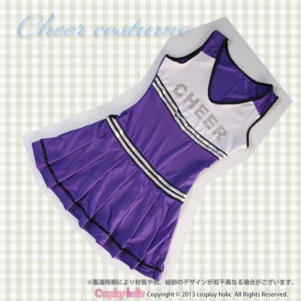 【チアガールコスプレ】白×紫ノースリーブワンピース 運動会コスチューム