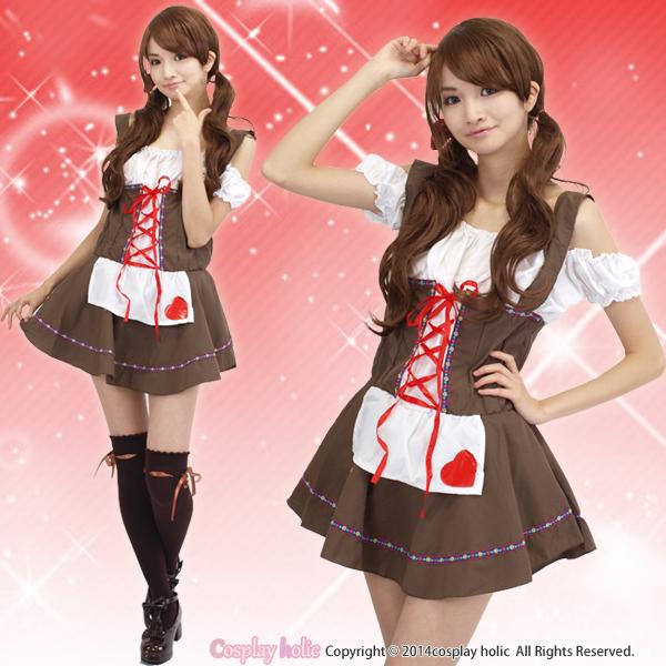 少女風オフショルダーのメイド服