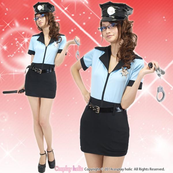 帽子、ベルト、警棒、手錠付き!のポリスコスプレ