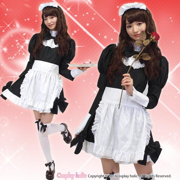 上品な長袖セレブメイドコスプレ-黒×白