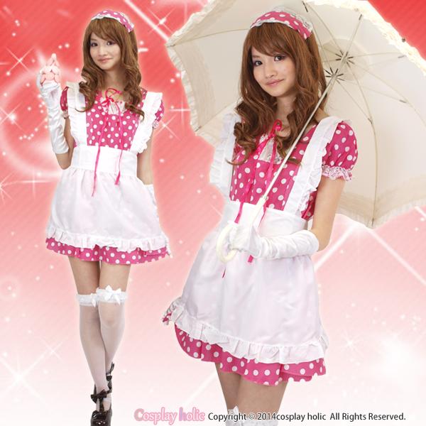【メイド服】イチゴカラードットのメイド服