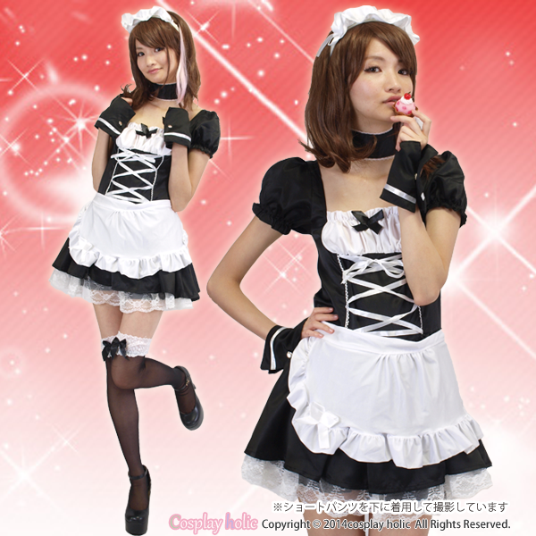 【メイド服】レーススカートがエレガントな白黒メイド服