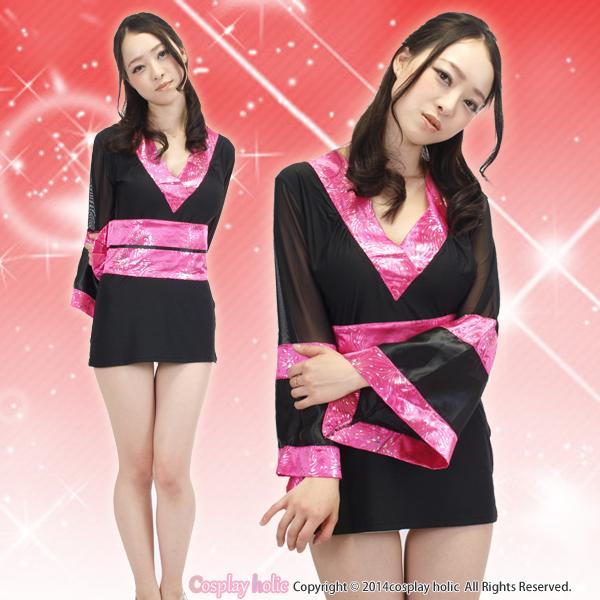 黒×ピンクのシースルーが妖艶な細身ミニ花魁コスプレ