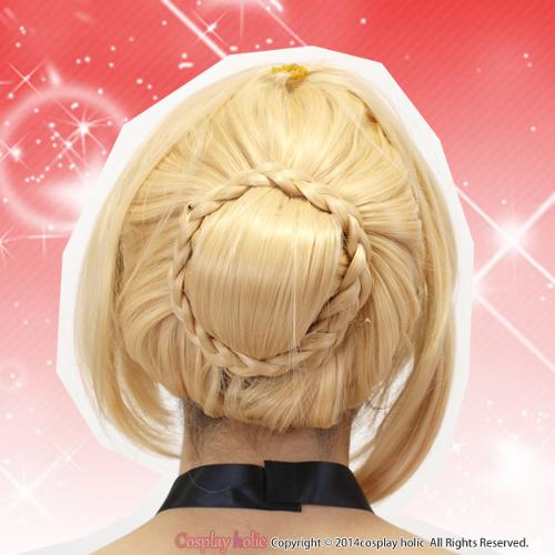 プリンセスにおすすめ☆金髪編みこみお団子ウィッグ