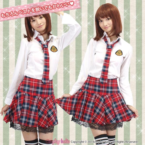 アイドル風制服コスプレ 赤チェックのネクタイとスカート