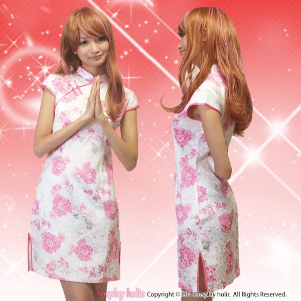 チャイナドレス コスプレ  ピンク×ホワイトの牡丹柄