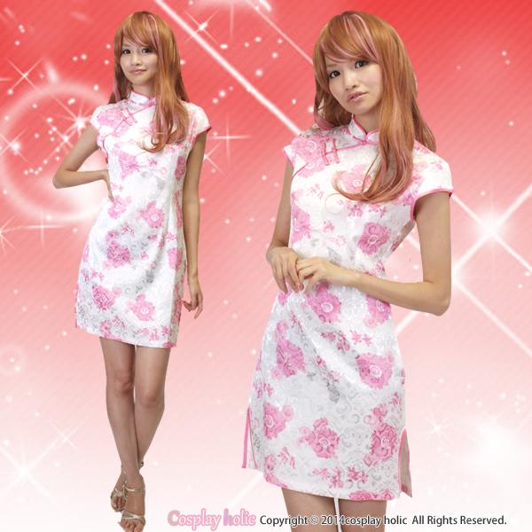 チャイナドレス コスプレ 通販 ピンク×ホワイトの牡丹柄