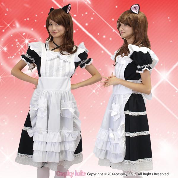 【ゴスロリメイド服】クラシック調リポンメイド服コスプレ 衣装