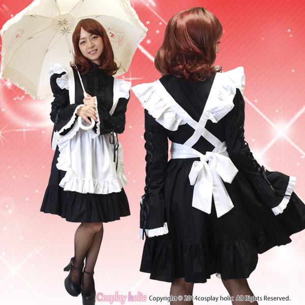 【高級メイド服】豪華ブラックフリルの高級ゴシックメイド服