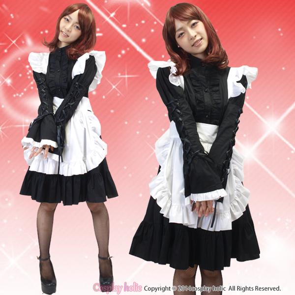 豪華ブラックフリルの高級ゴシックメイド服