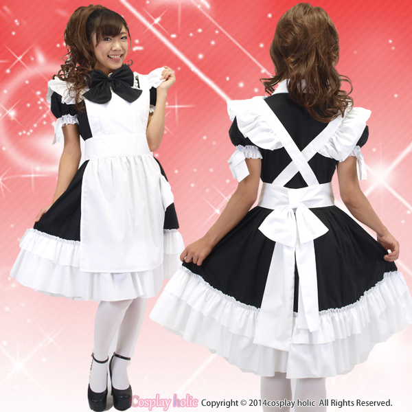 【高級メイド服】大きな黒リボンが★フリルブラウスの高級メイド服