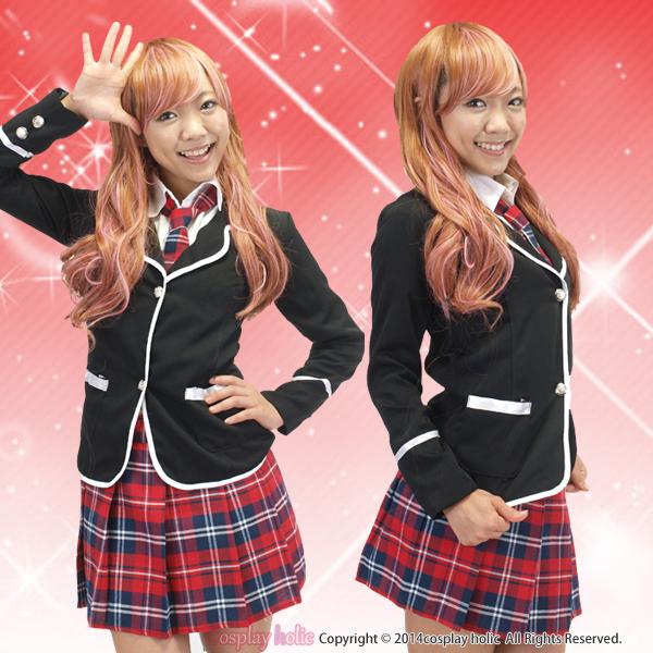 【ブレザー制服コスプレ】アイドル AKB風 赤いチェックのネクタイとスカート