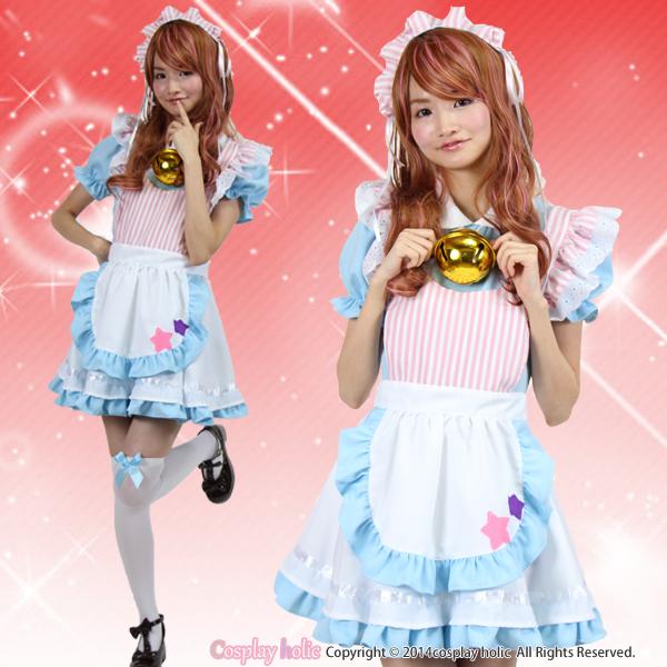 【メイドコスプレ】ドラえもん風水色メイド服