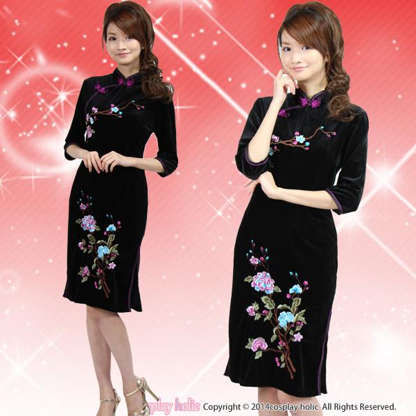 チャイナドレス コスプレ 通販  黒×小花刺繍ロング丈