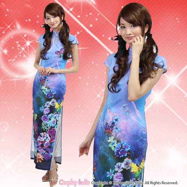 チャイナドレス ロング丈 スリット青色 花柄 豪華な水彩風プリント