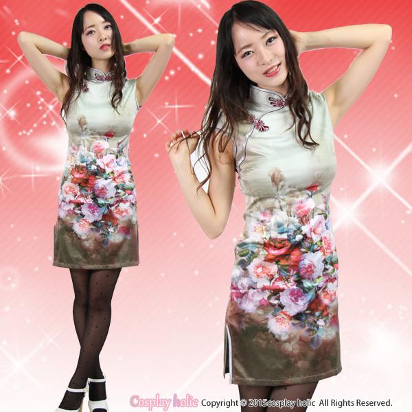 チャイナドレス コスプレ  カーキ×薔薇柄ミニワンピース