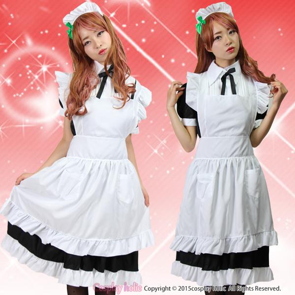 メイド服 アニメ(ラブライブ)風 クラシック ロング丈半袖 メイド 白黒