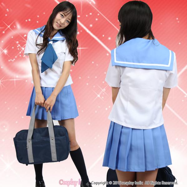 【セーラー服コスプレ】アニメヒロイン風 水色半袖 女子高生 jk 学生服 制服 コスチューム