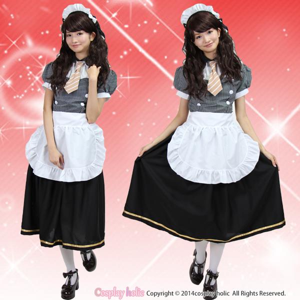 メイド服 ロング 大きいサイズ 半袖 ハロウィン アニメ風