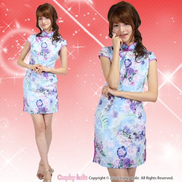 チャイナドレス コスプレ  水色×ピンクの花柄ミニワンピース