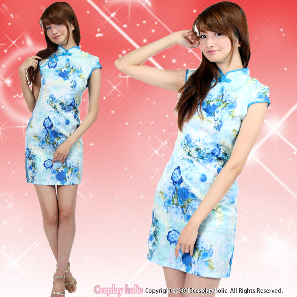 夏にぴったり!爽やかブルーのぼかし花柄チャイナドレス