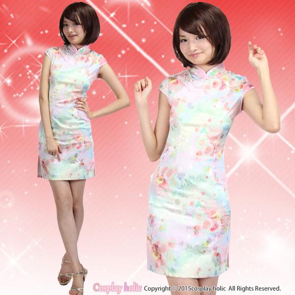 ベビーピンク×ぼかし花柄のチャイナドレス