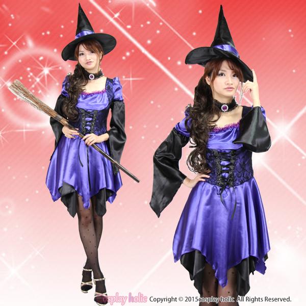 変形スカートの華やかパープル魔女コスプレ
