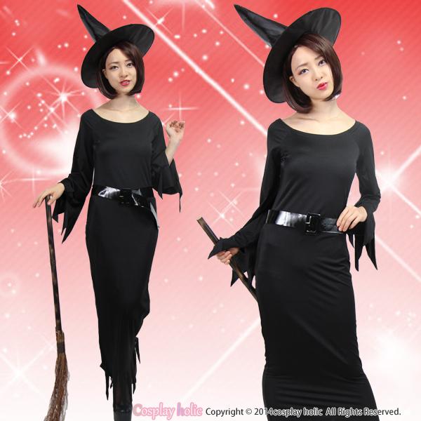 オフショルダーのマーメイドドレスのブラック魔女
