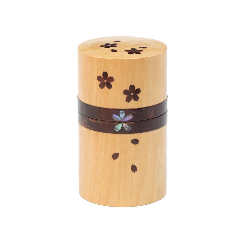 桜とヒバの茶筒 細長 螺鈿 桜吹雪