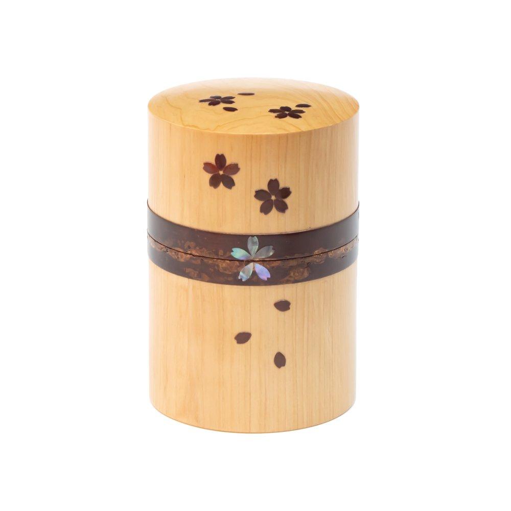 桜とヒバの茶筒 大 螺鈿 桜吹雪