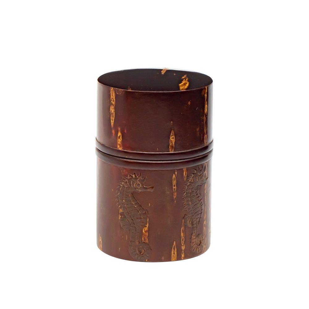 総皮茶筒 タツノオトシゴ|伝統工芸士 三浦勇作