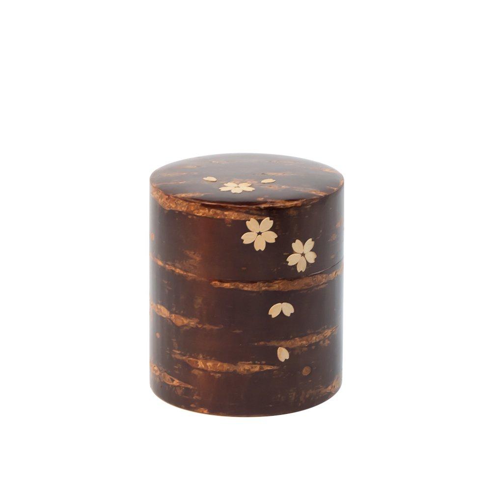 茶缶 平 150g 無地皮 桜吹雪