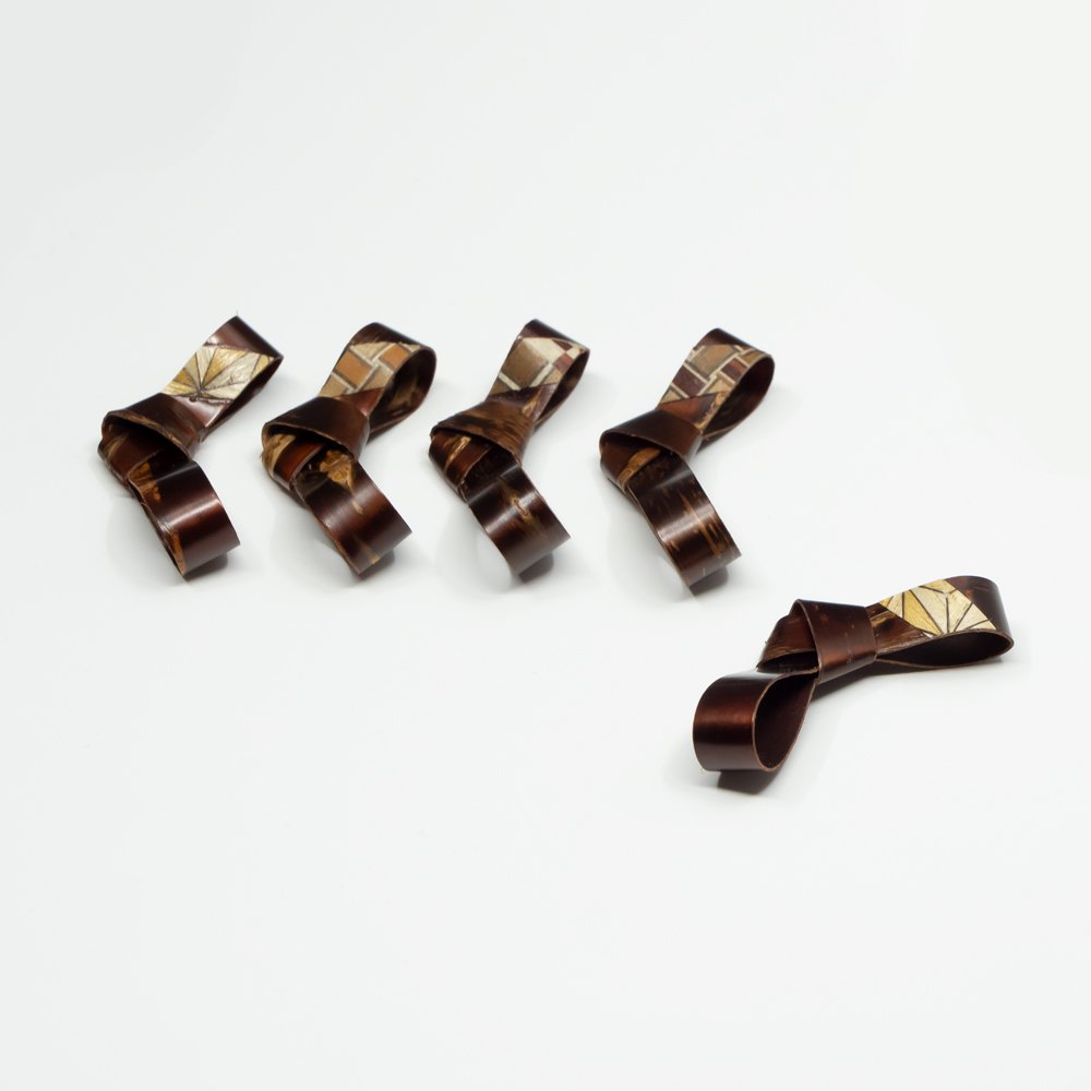 桜皮 リボン箸置 5入 樺細工