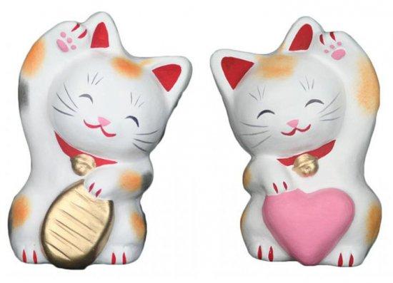 こばんちゃんとハートちゃん(大きさ約11センチ)招き猫 土人形 置物 風水グッズ 縁起物