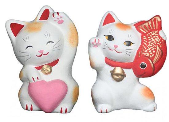 ハートちゃん(大きさ約11センチ)たいもちくん(大きさ約10センチ)招き猫 土人形 置物 風水グッズ 縁…