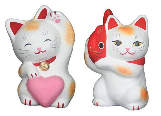 ハートちゃん(大きさ約11センチ)たいかつぎくん(大きさ約10センチ)招き猫 土人形 置物 風水グッズ 縁…