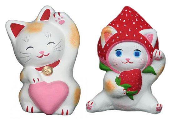 ハートちゃん(約11センチ)いちごちゃん(約10センチ)招き猫 土人形 置物 風水グッズ 縁起物