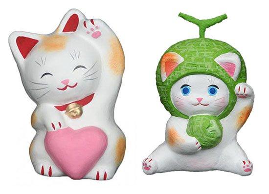 ハートちゃん(約11センチ)メロンちゃん(約10センチ)招き猫 土人形 置物 風水グッズ 縁起物