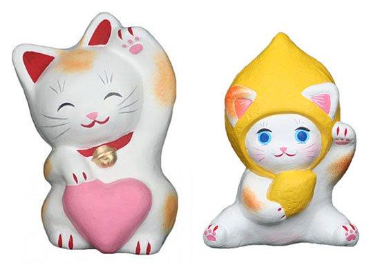 ハートちゃん(約11センチ)レモンちゃん(約10センチ)招き猫 土人形 置物 風水グッズ 縁起物
