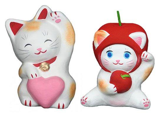 ハートちゃん(約11センチ)りんごちゃん(約10センチ)招き猫 土人形 置物 風水グッズ 縁起物