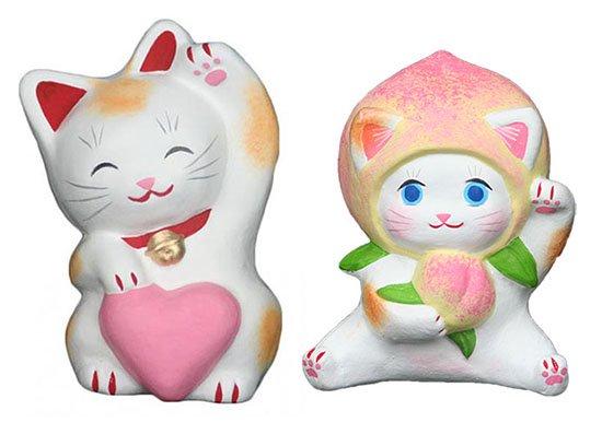 ハートちゃん(約11センチ)ももちゃん(約10センチ)招き猫 土人形 置物 風水グッズ 縁起物