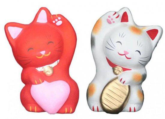 あかねこちゃんとこばんちゃん(大きさ約11センチ)招き猫 土人形 置物 風水グッズ 縁起物